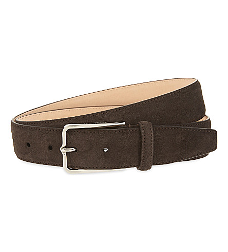 CORNELIANI Slim suede belt (Brown