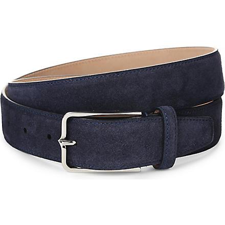 CORNELIANI Slim suede belt (Navy