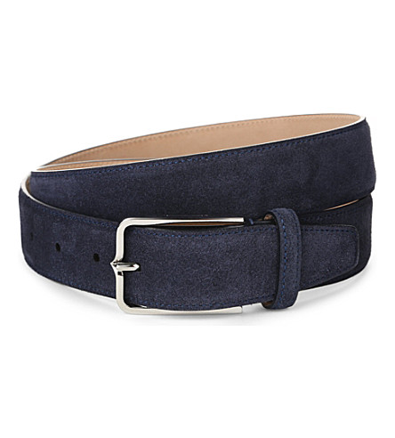 CORNELIANI Slim suede belt (Navy