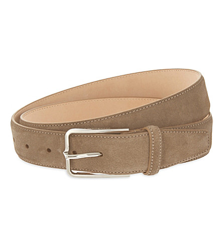 CORNELIANI Slim suede belt (Tan