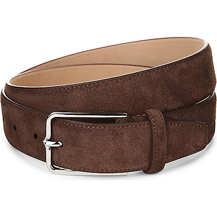CORNELIANI Slim suede belt (Tobacco