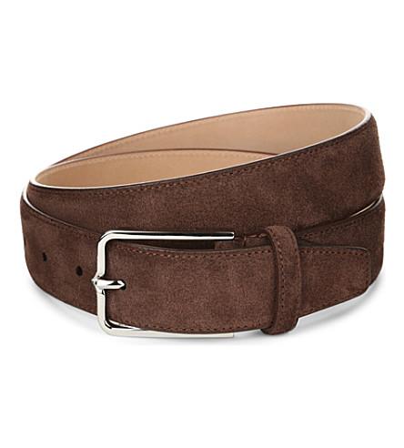 CORNELIANI Slim suede belt (Tobacco
