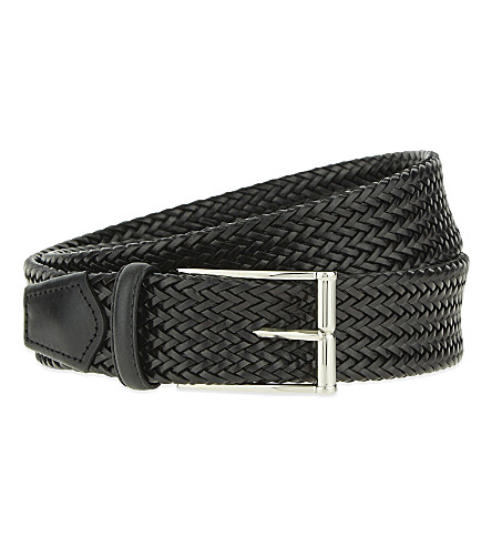 CORNELIANI Woven leather belt (Black