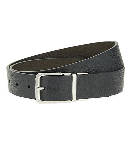 CORNELIANI Grained leather reversible belt (Blk+brwn