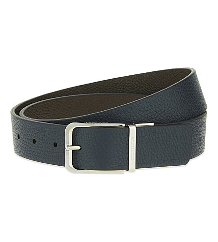 CORNELIANI Grained leather reversible belt (Nvy+brwn