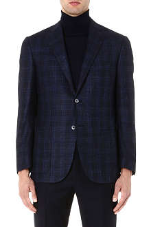 CORNELIANI Checked wool-blend jacket
