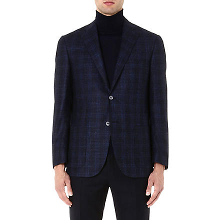 CORNELIANI Checked wool-blend jacket (Blue