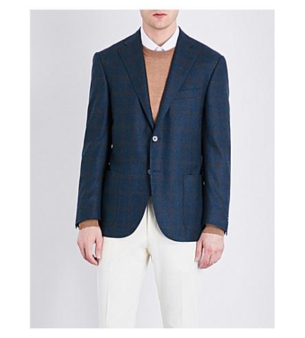 CORNELIANI Windowpane check tailored-fit wool jacket (Emerald