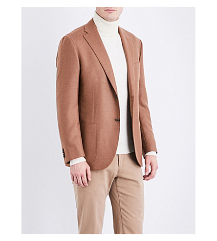 CORNELIANI Leader tailored-fit camel and wool-blend jacket (Tan