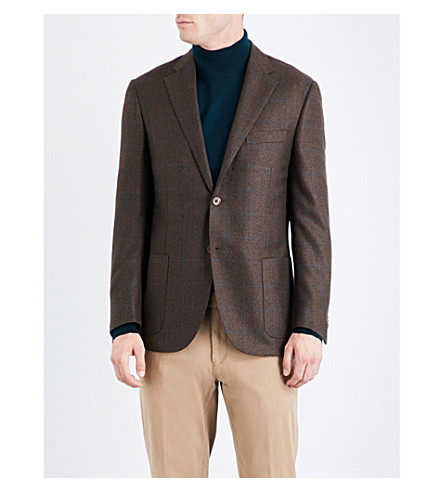 CORNELIANI Windowpane check tailored-fit wool jacket (Brown