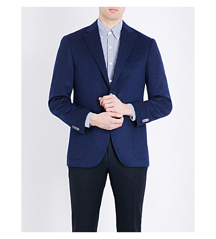 CORNELIANI Single-breasted cashmere jacket (Bright+blue