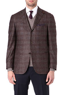 CORNELIANI Checked elbow patch blazer