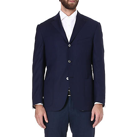 CORNELIANI Half-lined single-breasted wool jacket (Navy