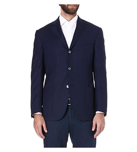 CORNELIANI Half-lined single-breasted wool jacket (Navy