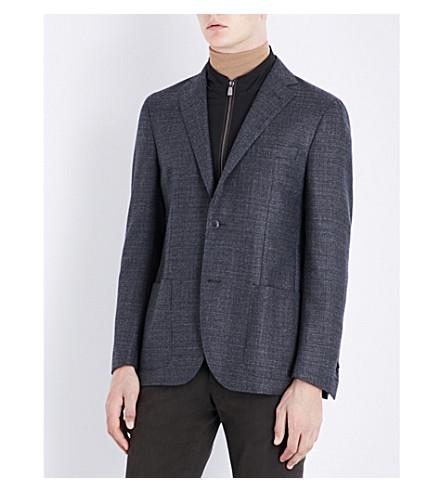 CORNELIANI ID detachable-collar regular-fit wool jacket (Charcoal