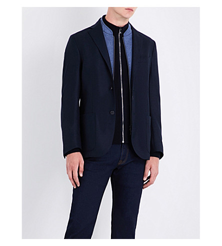 CORNELIANI Contrast-panel wool jacket (Navy