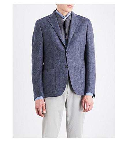 CORNELIANI ID herringbone regular-fit wool jacket (Mid+blue