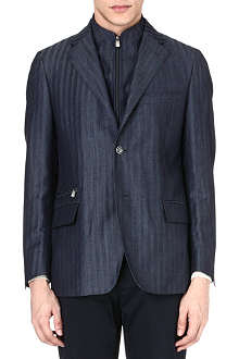 CORNELIANI Striped linen and wool-blend jacket