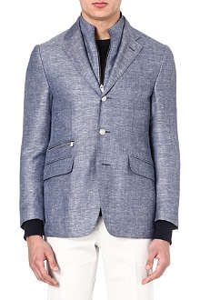 CORNELIANI Woven wool and linen-blend jacket