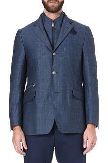 CORNELIANI Herringbone detachable-insert blazer