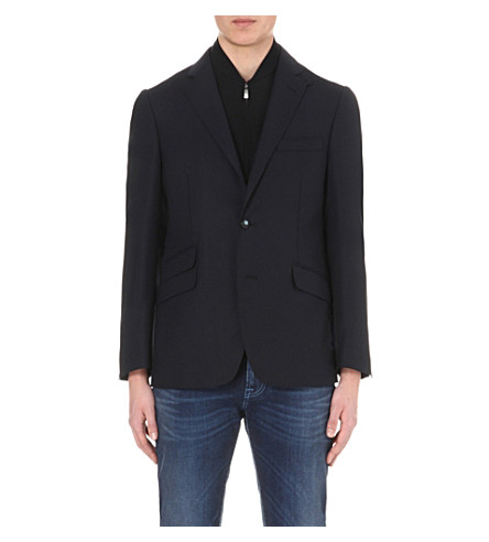 CORNELIANI Detachable knit-insert blazer (Navy
