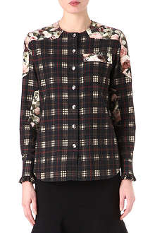 GIVENCHY Check and floral-print shirt