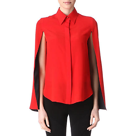 GIVENCHY Split-sleeves silk blouse (Red