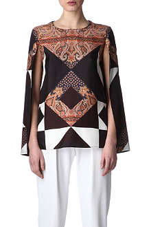GIVENCHY Split-sleeves paisley top