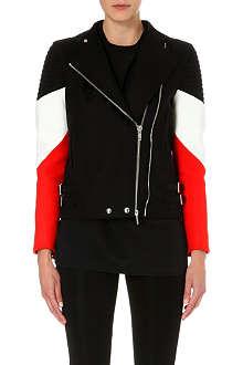 GIVENCHY Contrast stripe biker jacket