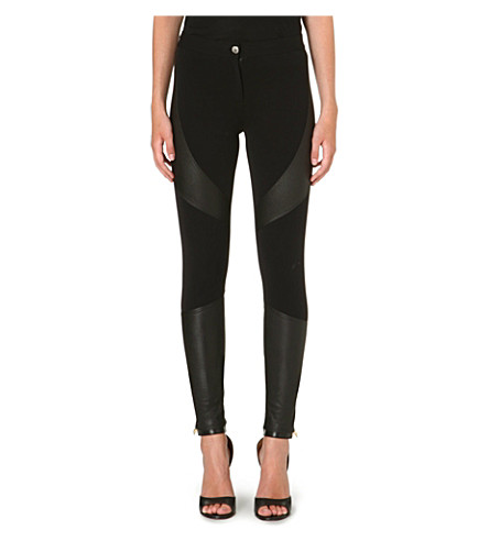 GIVENCHY Leather-panel trousers (Black