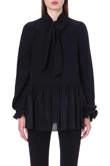 GIVENCHY Ruffle trim silk shirt