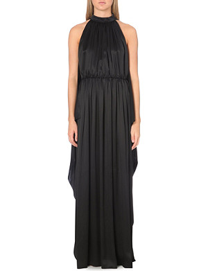 GIVENCHY Halterneck silk pleated gown