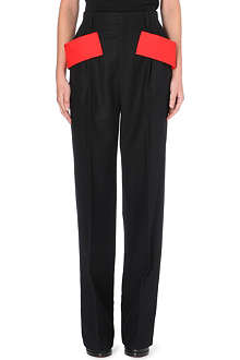 GIVENCHY Tab-detail straight-leg wool trousers