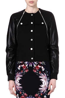 GIVENCHY Stretch-cotton and leather jacket