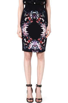 GIVENCHY Floral jersey pencil skirt