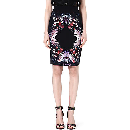 GIVENCHY Floral jersey pencil skirt (Multi