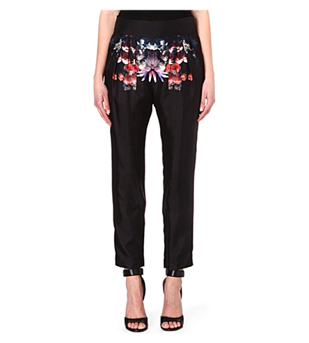GIVENCHY Floral silk trousers (Multi