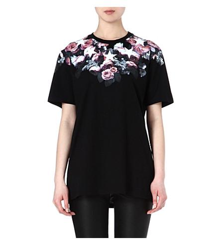 GIVENCHY Floral-neckline t-shirt (Black