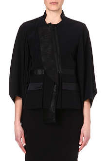 GIVENCHY Leather-panelled kimono jacket