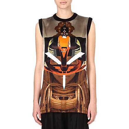 GIVENCHY Printed silk t-shirt (Multi