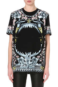 GIVENCHY Shark floral print t-shirt