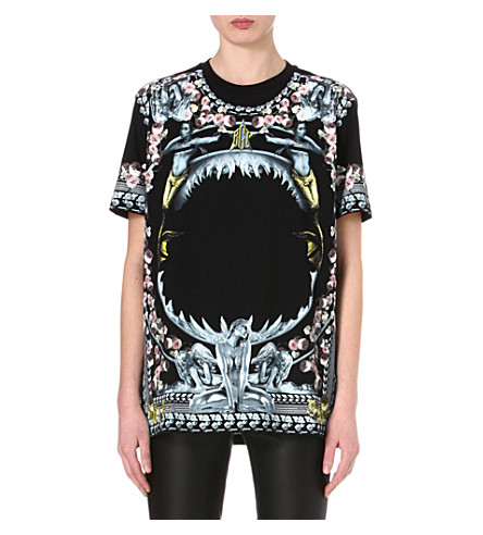 GIVENCHY Shark floral print t-shirt (Black