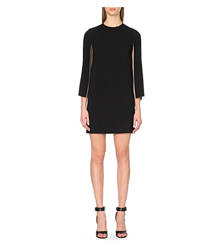 GIVENCHY Cape-style crepe dress (Black