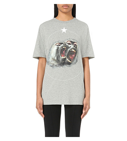 GIVENCHY Monkey-print cotton-jersey t-shirt (Light+grey