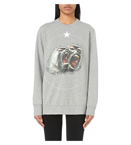 GIVENCHY Monkey-print cotton-jersey sweatshirt (Light+grey