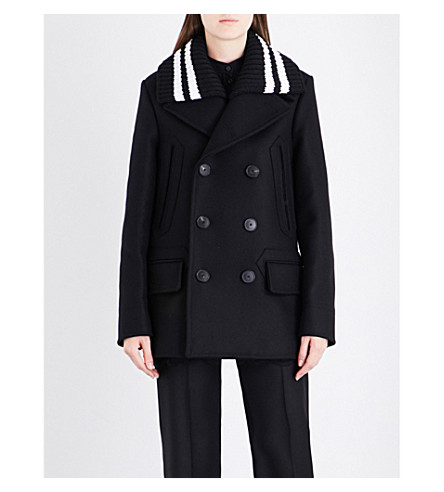 GIVENCHY Double-breasted wool-blend coat (Black