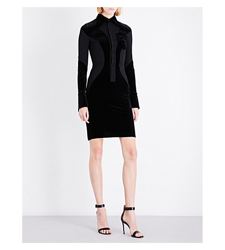 GIVENCHY Velour and chiffon midi dress (Black