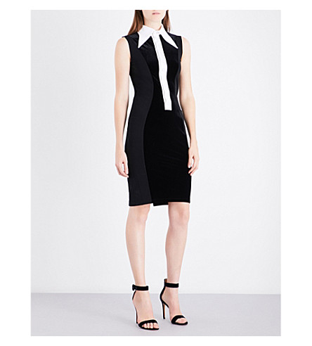 GIVENCHY Collared velour bodycon dress (Black