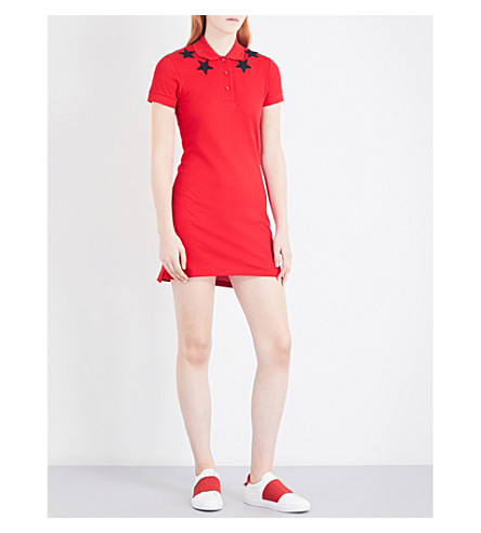 GIVENCHY Star-embroidered cotton-piqué dress (Red/black+stars