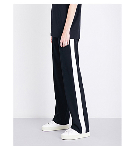 GIVENCHY Satin-trimmed high-rise wool jogging bottoms (Black